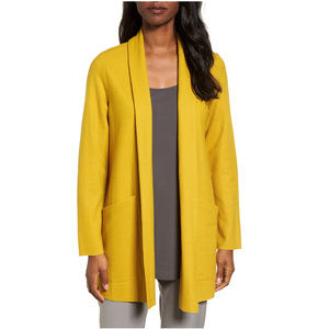Yellow Boiled Wool Jersey Shawl Collar Jacket PS